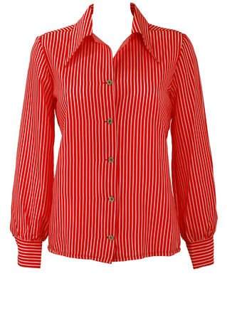 Vintage 70's Red and White Pinstripe Blouse - M/L