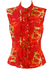 Versace Jeans Couture Red Sleeveless Rose Print, Ruffle Front Blouse - M/L