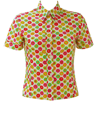 White Short Sleeved Blouse with Multicoloured 60's Style Floral Pattern - S