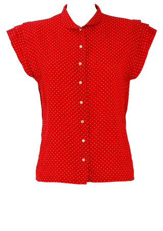 Red & White Polka Dot Blouse with Tiered Sleeve Detail - M