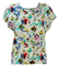 Vintage 80's White Short Sleeve Top with Colourful Abstract Tropical Floral Pattern - M