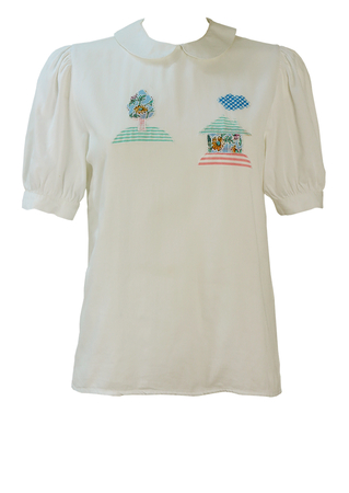 White Short Sleeve Peter Pan Collar Blouse with Applique Tree & House Pattern - S