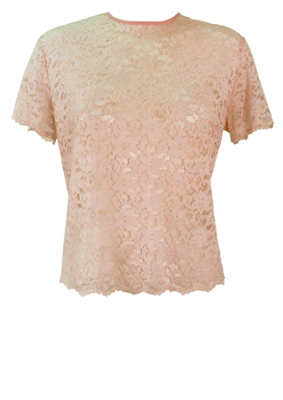 60's Style Soft Pink Lace Short Sleeve Top with Floral Pattern - L