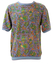 Best Company Olmes Carretti Purple Short Sleeve Sweatshirt with Paisley Pattern - M/L