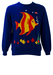 Blue Sweatshirt with Large Red & Yellow Fish Graphic - M