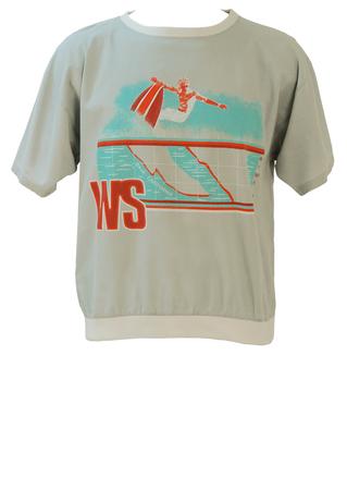 Grey Short Sleeved Shirt / T-Shirt with Orange & Blue Surfer Graphic - M/L