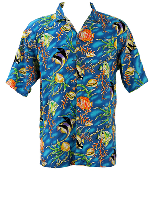 Blue Short Sleeved Hawaiian Shirt with Multicoloured Tropical Fish Graphic - L/XL