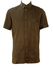 Brown Short Sleeved Shirt with 70's Style Diamond Shaped Geometric Pattern - L