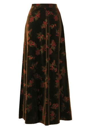 1970's Brown Velvet Maxi Skirt with Abstract Motif - S