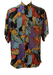Vintage 90's Short Sleeved Abstract Floral Patterned Multicoloured Shirt - L/XL