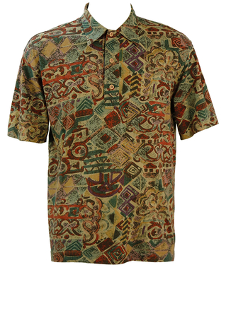 Short Sleeved Shirt with Abstract Muted Multi-Coloured Pattern - L/XL