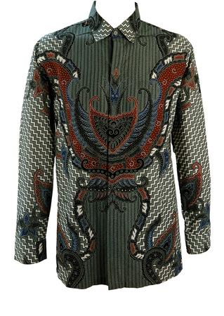 Batik Patterned Long Sleeve Shirt in Grey, Brown, Black & Blue - L/XL