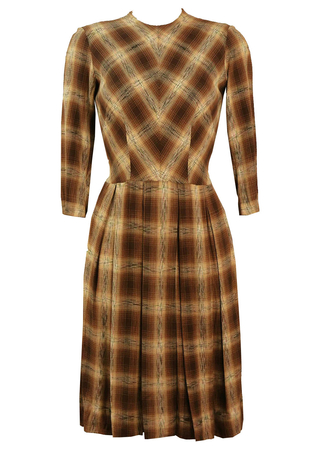 1950's Day Dress with Brown & Cream Check Pattern - S