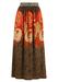 Vintage 70's Orange & Brown Floral Print Maxi Skirt  - S