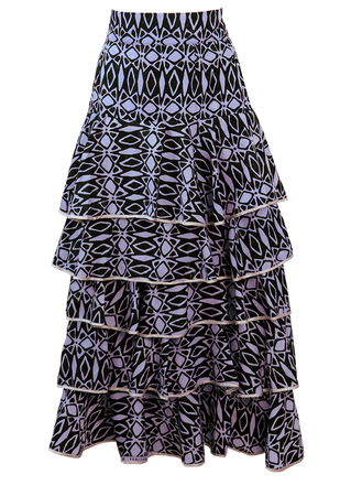 Black & Lilac African Patterned Maxi Skirt with Tiered Frills - S