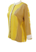 Vintage 80's Yellow & White Batwing Blouse with Woman's Silhouette Detail - M/L