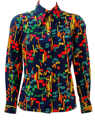 Vintage 70's Navy Blue Blouse with Multicoloured Abstract Pattern & Dagger Collar - S