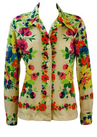 Vintage 70's Dagger Collar Cream Blouse with Bright Multicoloured Floral Design - M
