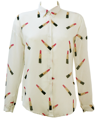 White Semi Sheer Long & Short Sleeved Blouse with Pink Lipstick Pattern - M