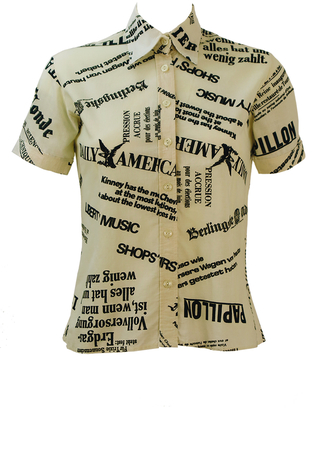 Short Sleeved Cream Shirt with Black Newspaper Print Graphic - XS/S