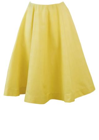 Vintage 1950's Lemon Yellow Midi Circle Skirt - XS/S