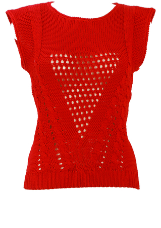 Red Sleeveless Cotton Knit Top with Cable Knit & Crochet Detail - XS/S