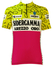 Italian Short Sleeved Cycling Top in Neon Yellow, White & Pink - S/M