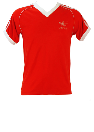 Vintage 80's Red Adidas V-Neck T-Shirt - S/M