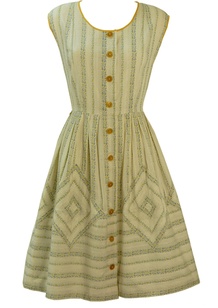 Vintage 1950's White Midi Day Dress with Yellow, Green & Blue Ditsy Print - S/M