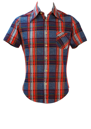 Vintage 60's Short Sleeved Shirt with Blue, Red & Yellow Check Pattern - S/M