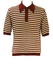 Vintage 60's Italian Burgundy & Cream Striped Aertex Knit Polo Shirt - L