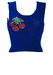 Blue Sleeveless Knitted Crop Top with Sequin Cherry Motif - XS/S
