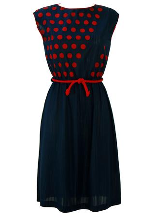 Vintage 80's Navy Blue Sleeveless Midi Dress with Red Polka Dot Pattern - S/M