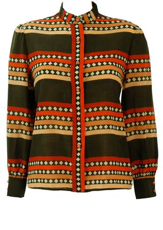 Vintage 70's Olive Green & Orange Mandarin Collar Blouse with Stripe & Diamond Pattern - M