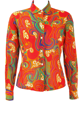 Vintage 60's Multicoloured Psychedelic Print Blouse - M
