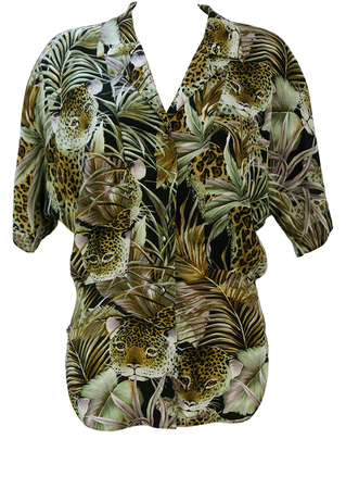 Vintage 80's Batwing Short Sleeved Blouse with Jungle & Cheetah Print - M/L