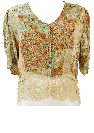 Floral Patchwork Print Short Sleeved Top with Crochet Detail Waistband - L