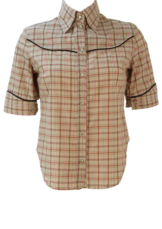Short Sleeved Western Shirt with Beige, Red & White Check Pattern - S