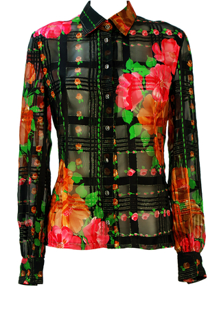 Black Semi Sheer Blouse with Pink Floral Pattern & Metallic Gold Weave - M/L