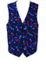 Bright Blue Waistcoat with White, Blue, Red & Black Geometric Pattern - XL/XXL