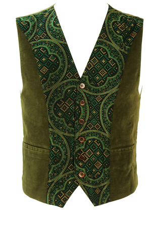 Olive Green Moleskin Waistcoat with Black, Gold & Green Tapestry Pattern Panel - XS/S