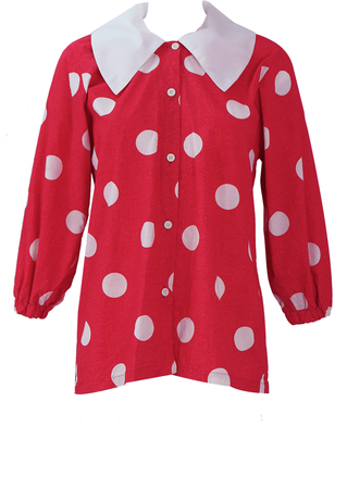 Red & White Polka Dot Blouse with Background Floral Print & Large Collar - M/L