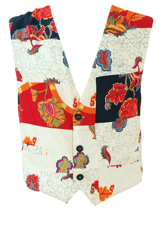 Patchwork Waistcoat with Navy, Red, Yellow & White Floral Patterns - M/L