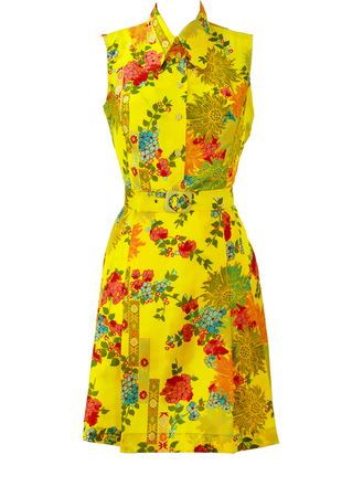 Vintage 60's Yellow Sleeveless Knee Length Dress with Oriental Floral Design & Belt - S/M