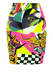 Vintage 90's Bodycon Mini Skirt with Fluro Abstract Print - S/M