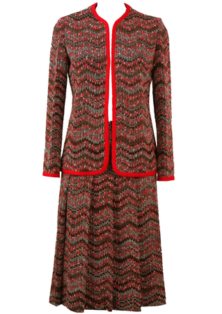 Missoni-esque Red & Brown Patterned Skirt & Jacket Two Piece - S