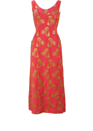 Vintage 70's Red & Fuchsia Pink Long Sleeveless Evening Maxi Dress with Metallic Gold Floral Detail - XS/S