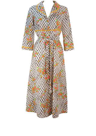 Vintage 70's Long Housecoat Dress with White & Brown Grid Pattern & Floral Print - M