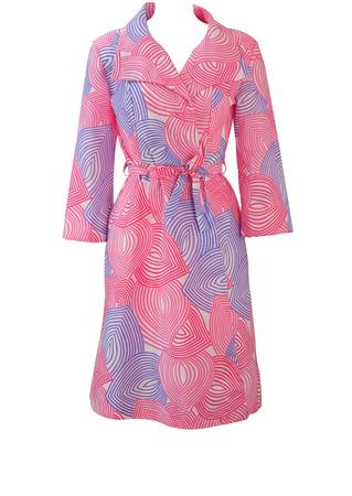 Vintage 70's Midi Housecoat Dress with Large Pink & Purple Leaf Shapes - M