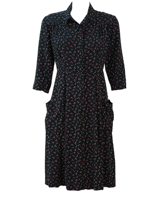 Vintage 40's Black Midi Day Dress with Red & White Ditsy Floral Print - XS/S